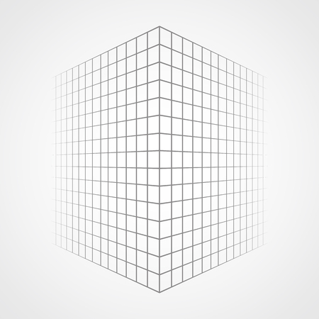 fading: Fading and vanishing grid, mesh 3d abstract background. Illustration