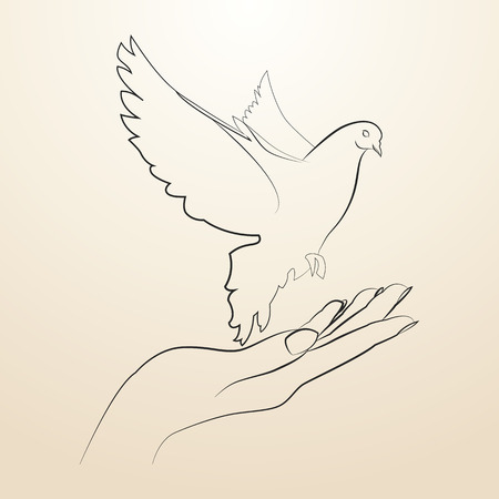 high spirits: Pigeon of peace flying from the open hands sketch in black lines.