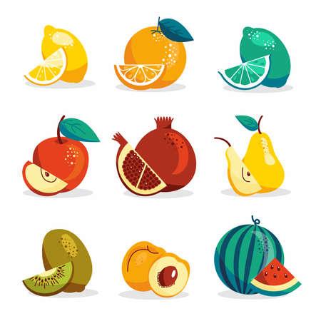 Set of fruits in modern vector hand drawn style, summer symbol, fruit salad.Cute fruits, apple, watermelon, lemon, kiwi, pear, apricot, lime, orange, pomegranate