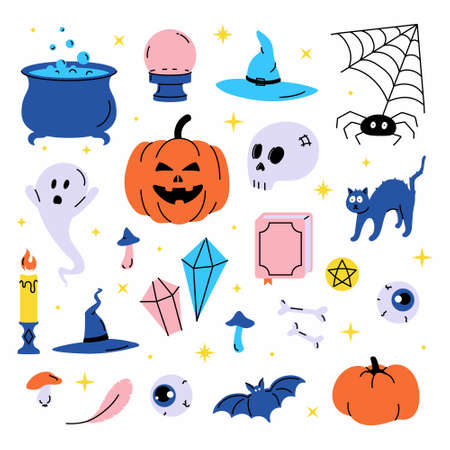 Set vector illustration of trendy cute Halloween trick or treat design elements, such as bat, bones, pumpkins, cats, and more. Perfect for invitations, stickers and packaging. Vetores