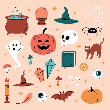 Set vector illustration of trendy cute Halloween trick or treat design elements, such as bat, bones, pumpkins, cats, and more. Perfect for invitations, stickers and packaging.
