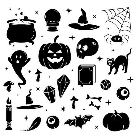 Set black vector illustration of trendy cute Halloween trick or treat design elements, such as bat, bones, pumpkins, cats, and more. Perfect for invitations, stickers and packaging.
