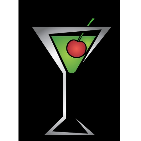 logo in the form of a glass with a cocktail and cherry Vector