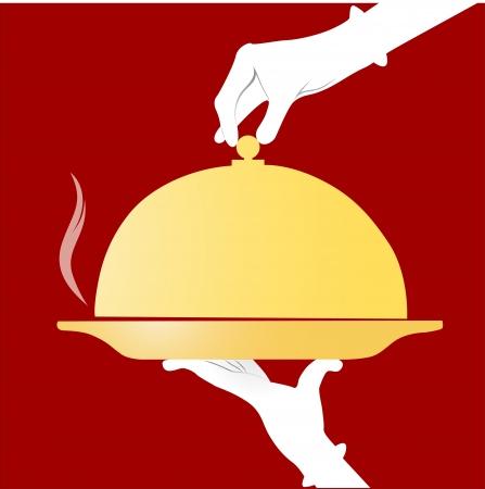 logos restaurantes: las manos en los guantes blancos que sostiene un plato