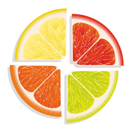 citruses: Lemon, orange, lime, grapefruit on white background Stock Photo
