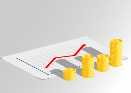 Financial graph with a red arrow and coins Stock Photo - 17310135