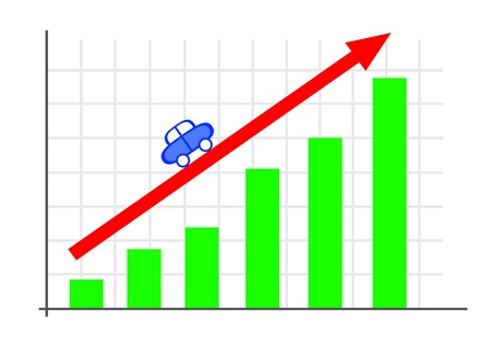 Graph with a red arrow Stock Photo - 17310172