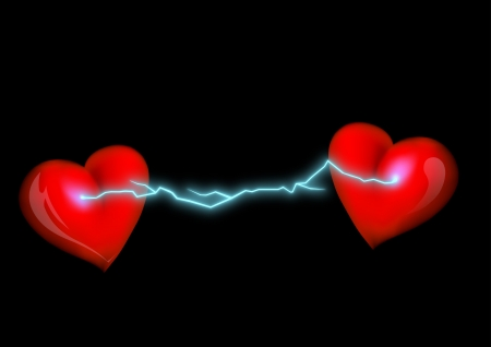 electrical discharge between two hearts photo