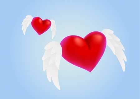 Two red hearts with wings on blue background photo