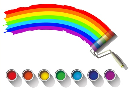 painting and decorating: painted rainbow colors on a white background Stock Photo