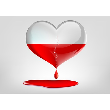 glass heart with a crack and blood Vector
