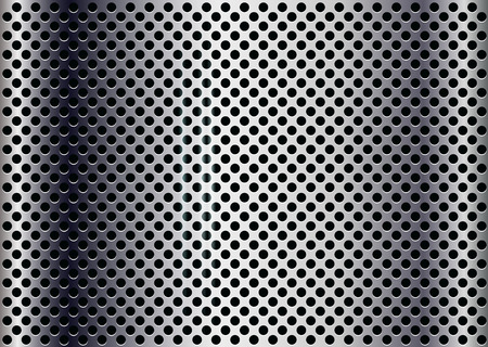 punched: Vector metal background with round holes