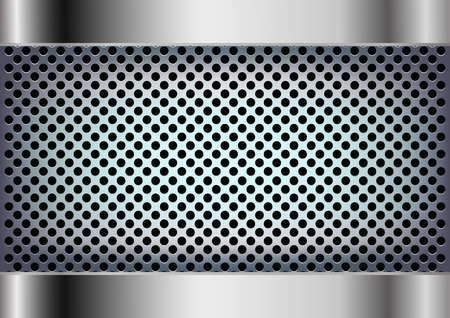 holes: Vector metal background with round holes