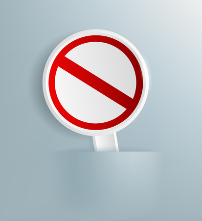 empty sign: Vector white plate prohibitory sign