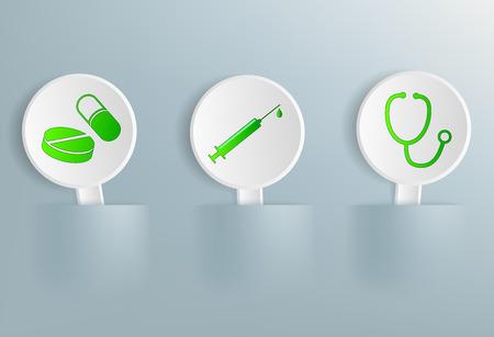 aspirin: Vector medical signs on tablets Illustration