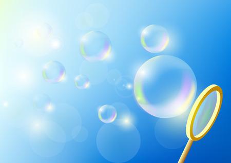 Vector bubbles against the blue sky