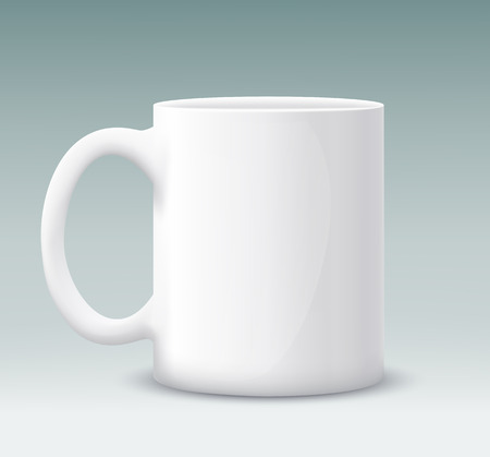 coffeecup: Vector white mug on a gray background