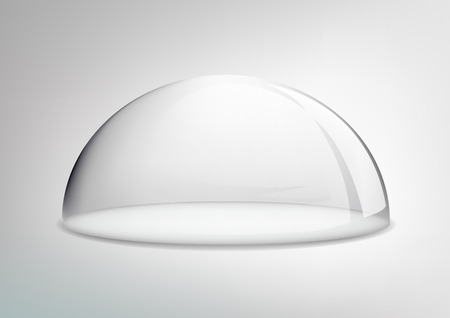 Vector glass dome on a gray background