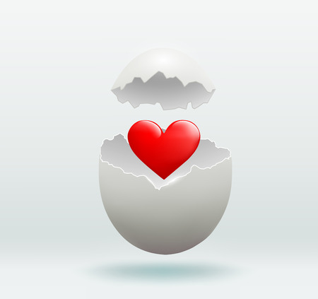 heart broken: Vector red heart in the broken egg