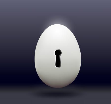 castle door: Chicken egg with a door bore a dark background