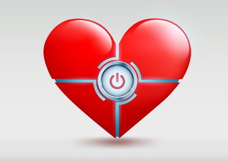 listening to heartbeat: Vector red heart with a button on a white background Illustration