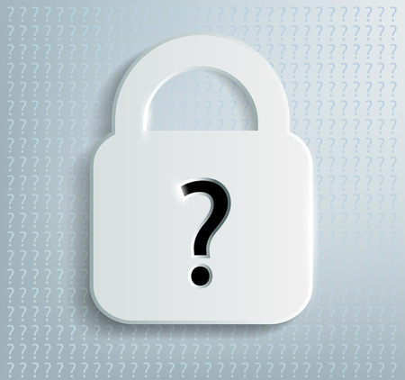 dubious: Vector padlock with a question mark