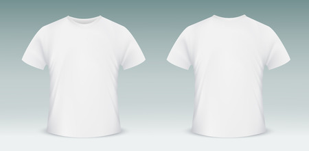 white shirt: Vector Blank t-shirt template. Front and back side