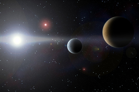 Planet against a background of outer space photo