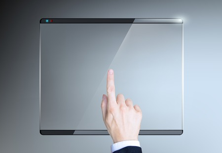 Vector finger presses on the touch screen photo
