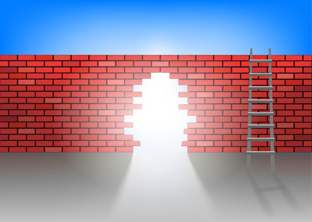 revetment: the hole in the brick wall Illustration