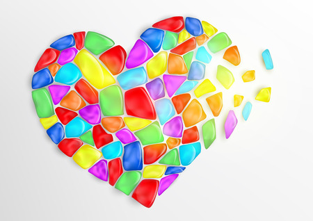 Vector heart consisting of colored stones