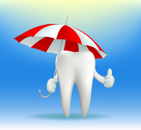 carious: Vector tooth holding an umbrella Illustration