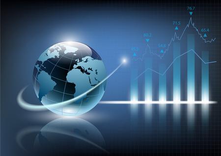 crisis economica: ilustración vectorial de la carta del gráfico financiero