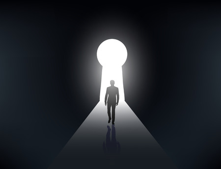 key hole: silhouette of a man walking in the light from the keyhole Illustration