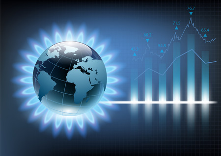 Planet earth in the blue flame of a gas burner. Vector illustration of financial graph chart Illustration