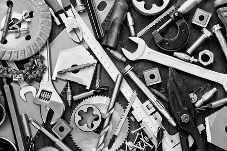 Background of Building and measuring tools Stock Photo