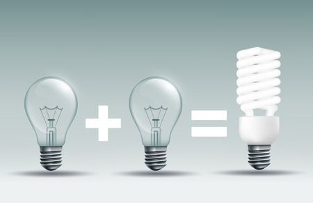 incandescent: energy saving lamp and incandescent lamp on a dark background
