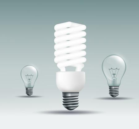 bombillo ahorrador: Lámpara ahorro de energía y la lámpara incandescente sobre un fondo oscuro