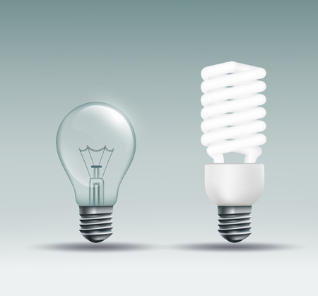 incandescent: Vector incandescent and energy-saving lamp