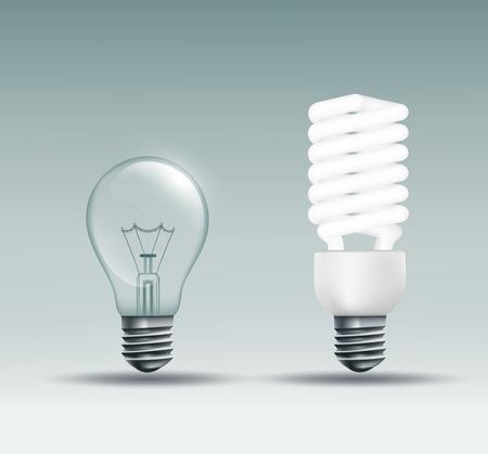bombillo ahorrador: Vector incandescente y la l�mpara ahorro de energ�a