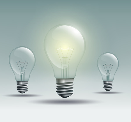 light ray: light bulb on a gray background