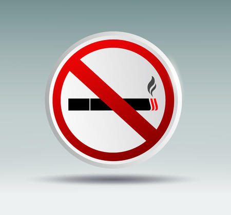 refrain: plaque designating smoking ban on a gray background