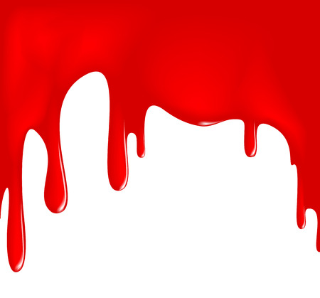 wet paint: dripping red paint on a white surface Illustration
