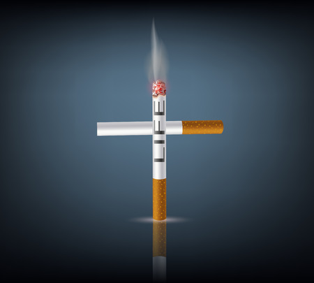 cinders: Vector cross from cigarette on a dark background