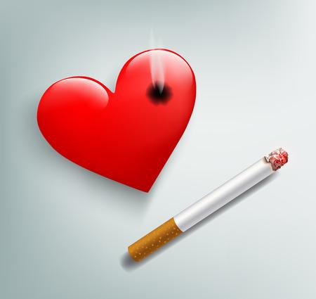 enfermedades del corazon: Vector rojo coraz�n humano y el cigarrillo