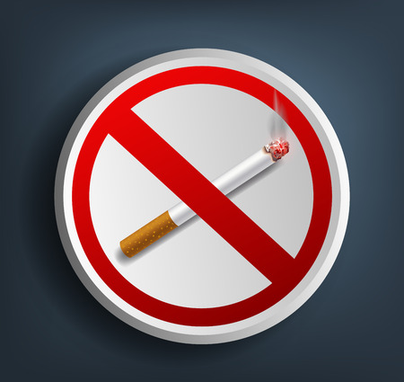 smell of burning: Vector ashtray with cigarette and prohibitory sign Illustration
