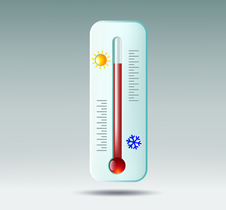 hotness: Vector thermometer on gray background