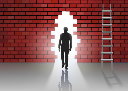 hole in wall: Man goes into the hole in the wall Illustration
