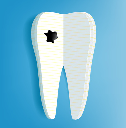 carious cavity: Vector human tooth as a notepad