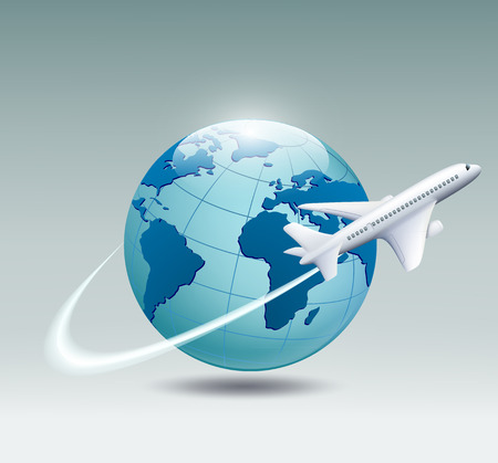 passenger plane: Airplane circling the globe and flying out
